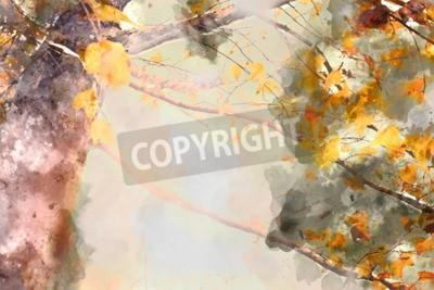 Obraz Maple tree in autumn season, watercolor background