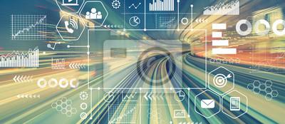 Obraz Marketingowy pojęcie z abstrakcjonistyczną wysoką prędkości technologii POV ruchu zamazanym wizerunkiem