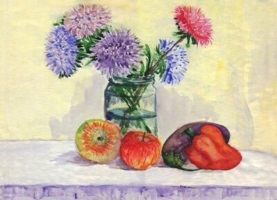 Obraz Martwa natura. Bukiet asters, jabłka, papryka, bakłażan. akwarela