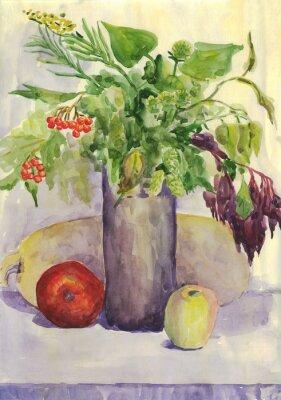 Obraz Martwa natura. Bukiet, jabłko, cukinia, Rowan. akwarela