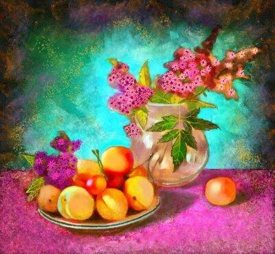 Obraz martwa natura z brzoskwiniami