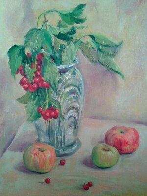 Obraz Martwa natura z bukietem i owoców. Jabłka i czerwone porzeczki. Obraz olejny