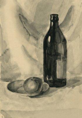 Obraz Martwa natura z butelką i jabłko, akwarela