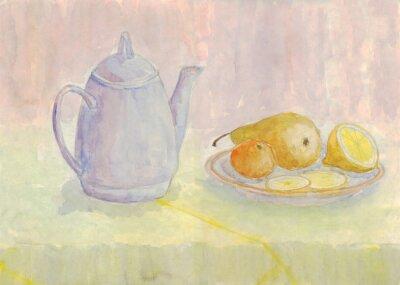 Obraz Martwa natura z czajnikiem i owoców. Gruszki, cytryny, mandarynki na płycie. akwarela