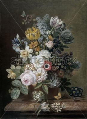 Obraz Martwa natura z kwiatami, autorstwa Eelke Jelles Eelkema, ok. 1815-39, holenderski obraz olejny, olej na płótnie. Bukiet róż, tulipanów, żonkili, irysów, na kamiennym cokole. Wśród kwiatów jest motyl.