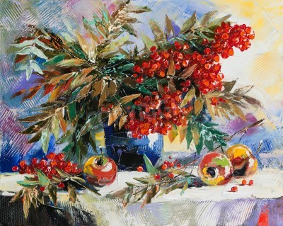 Obraz Martwa natura z mountain ash i jabłek