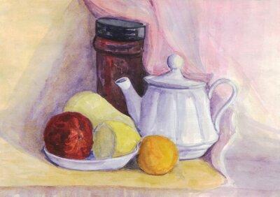Obraz Martwa natura z owocami i czajnik. Gruszki, cytryny, mandarynki na płycie. akwarela