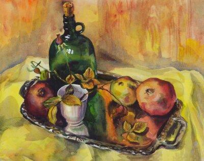 Obraz Martwa natura z różami, granaty i butelki wina na tacy. akwarela