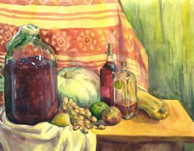 Obraz Martwa natura z wina, owoców i warzyw. akwarela