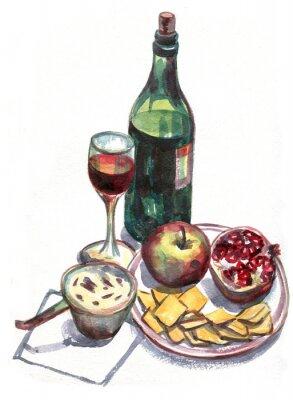 Obraz Martwa natura z winem i owocami. akwarela