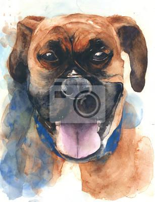 Mastif pies portret akwarela ilustracja