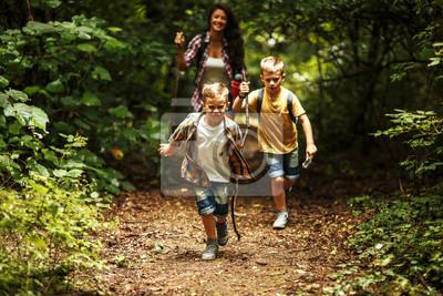 Obraz Matka i jej mali synowie wycieczkuje synklina las. Uczą się o naturze.