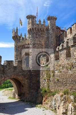 Medieval gate i Fosa, Zamek Ponferrada, Leon, Hiszpania