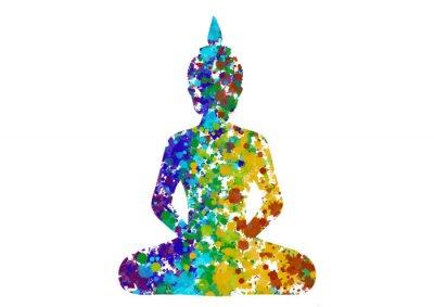 Obraz Meditating Buddha posture in rainbow colors