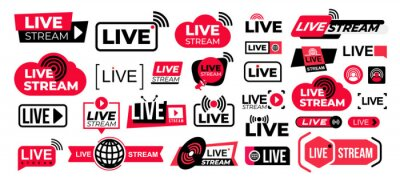 Obraz Mega set of live streaming vector icons. Red and black symbols and buttons of live streaming, broadcasting, online stream. Design for tv shows movies and live performances isolated on white background