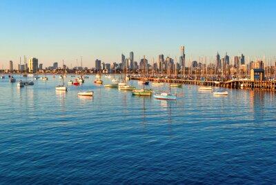 Obraz Melbourne skyline z St Kilda o zachodzie słońca (Victoria, Australia)