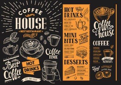 Obraz Menu kawowej restauracji. Ulotka na napoje do baru i kawiarni. Projekt szablonu z rocznika ilustracje rysowane ręcznie żywności.