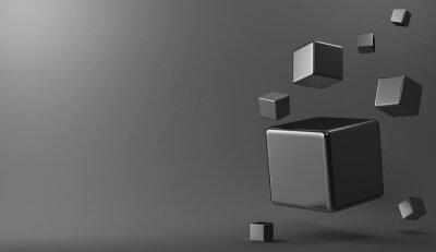 Obraz metalowe sześciany 3D tle