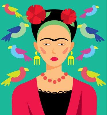 Obraz Mexican kobieta w makijażu, ilustracji wektorowych. Bohaterowie kreskówek.