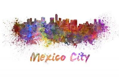 Obraz Mexico City skyline in watercolor