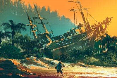 Obraz Mężczyzna wyrzucony stojąc na plaży wyspy z porzuconą łodzią na zachodzie słońca, ilustracja malarstwo