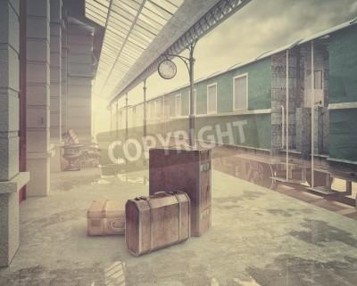 Obraz mgła nad retro stacji kolejowych .Vintage stylu kolor koncepcja 3D
