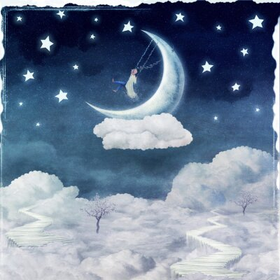 Obraz Miasto dzieci na fantastyczne chmury na niebie
