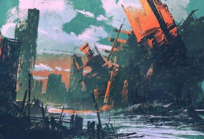 Obraz Miasto katastrofy, apokaliptyczna sceneria, ilustracja malarstwo