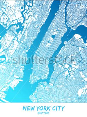 Obraz Miasto Nowy Jork i okolice Mapa w niebieskiej wersji cieniowanej z dużymi szczegółami. Ta mapa Nowego Jorku zawiera typowe punkty orientacyjne z miejscem na dodatkowe informacje.
