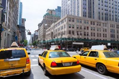 Obraz Miasto Nowy Jork, Manhattan Fifth Avenue 5th Av kabiny yellow taxi USA
