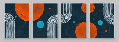 Obraz Mid-Century Modern Design. A trendy set of Abstract Black Hand Painted Illustrations for Postcard, Social Media Banner, Brochure Cover Design or Wall Decoration Background. Vector illustration.