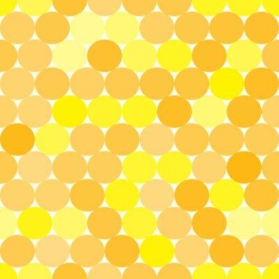 Obraz Miękki żółty i pomarańczowy wektor szwu z kręgów. Monochromatyczny abstrakcyjne geometryczne tła.