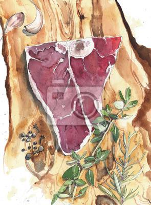 Mięso stek wołowy stek z cielęciny kotlet rzeźnik pokładzie cięcia akwarela ilustracji samodzielnie na białym tle
