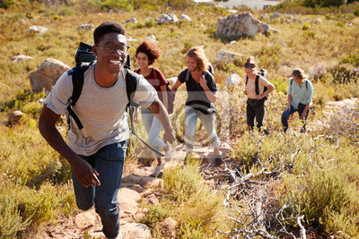 Obraz Millennial African American man leading friends hiking single file uphill on a path in countryside