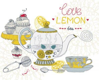Obraz miłość tea lemon card