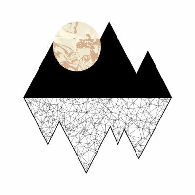 Obraz Minimalistyczna grafika. Księżyc w pełni w górach.