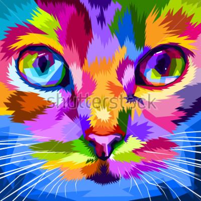 Obraz młodzi kota zbliżona do kolorowych oczu