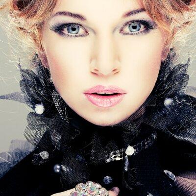 Obraz Moda dziewczyna portrait.Accessorys.Red włosy.