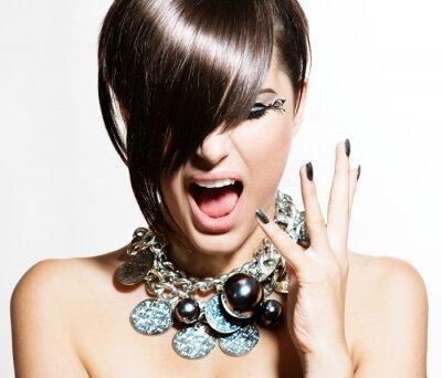 Obraz Model Portret Fashion Dziewczyna. Emocje. Trendy Hair Style