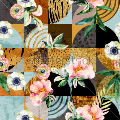 Obraz Modern seamless geometric and floral pattern: watercolor flowers and leaves on semicircles, circles, squares, grunge, golden glitter textures, doodles abstract background. Art illustration