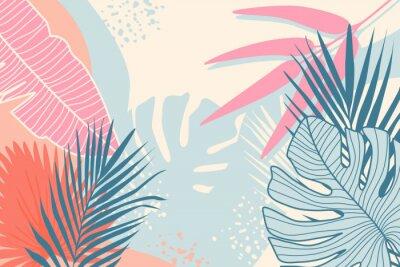 Obraz Modern tropical background. Jungle plants nature backdrop. Summer palm leaves wallpaper.