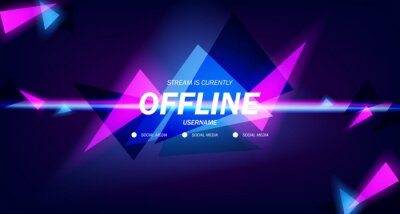 Obraz modern twitch background screensaver offline stream gaming background with neon pink and cyan color glowing triangle