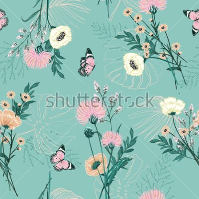 Obraz Modny Pastel o wielu kwiatach ogrodowych, roślinach, botanice, motylu, bez szwu deseniu wektorowym dla mody, tkanin, tapet i wszystkich nadruków na zielonym tle mięty