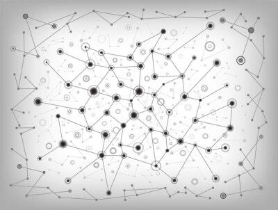 Obraz Molekularna struktura szary