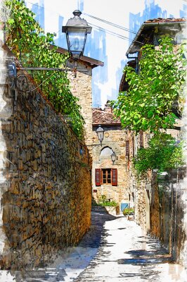 Obraz Montefioralle, one of the most beautiful villages of Tuscany, Italy