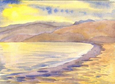 Obraz Morze i góry. Krajobraz. akwarela