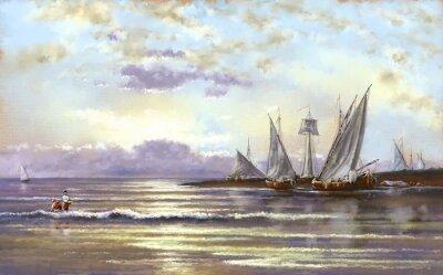 Obraz Morze krajobraz, rybak, olej cyfrowych obrazów