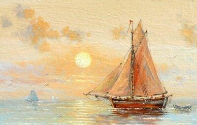 Obraz Morze, łodzie, rybacy, obrazy olejne