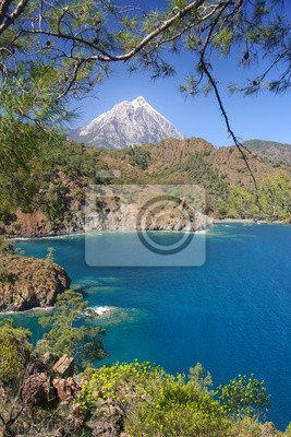 Mount Olympos in the frame of the seaside landscape