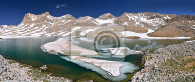 mountain lake with ice